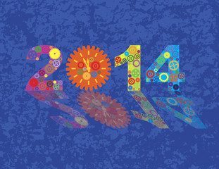 Happy New Year 2014 Colorful Gears with Background Vector