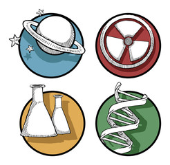 Set of colorful hand drawn Icons - Science
