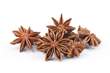 Group of anise stars isolated on white background