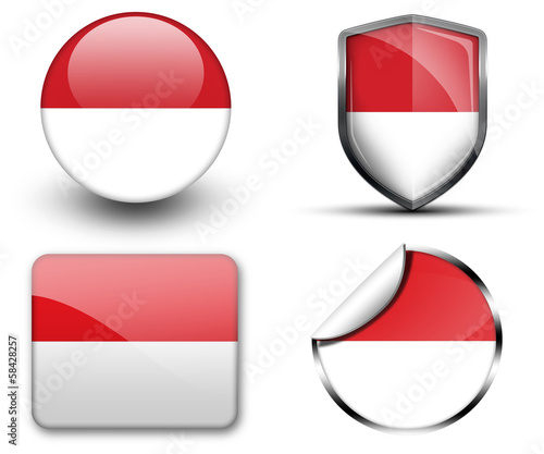 Indonesia flag button sticker and badge