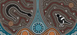 A illustration based on aboriginal style of dot painting depicti - 58428464