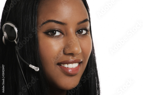 Telephone assistance, smiling operator with headset