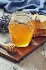 Honey in jar
