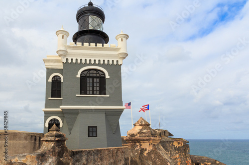 San Juan, Lighthouse at Fort San Felipe del Morro, Puerto Rico