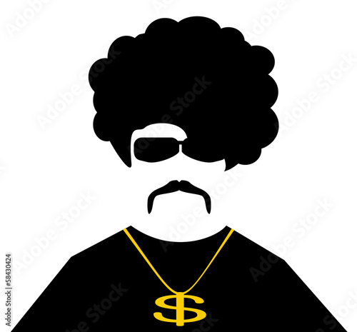cool man with gold chain necklace and afro