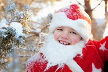 Portrait of boy dressed as Santa