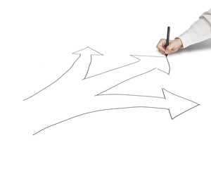 Businessman hold pen drawing 3 ways with arrow for direction