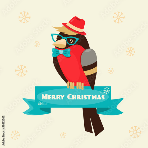 Christmas background and greeting card with hipster bullfinch