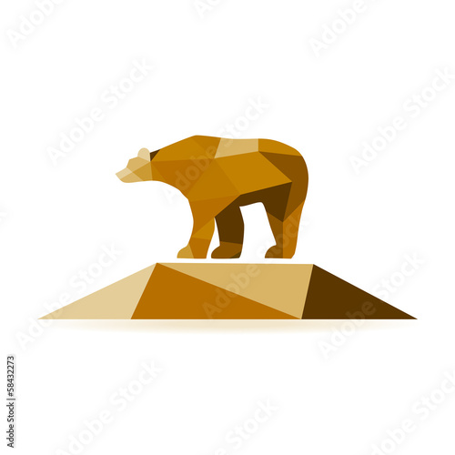 Poster Geometrische dieren Abstract bear isolated on a white background