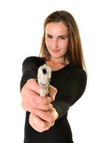 Sexy girl with gun isolated on black background