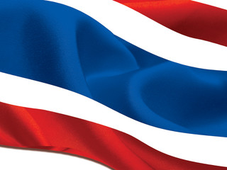 beautiful flag of thailand stream waft in the wind on isolated b
