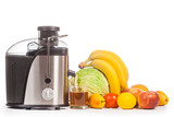 juicer with fruit on a white background