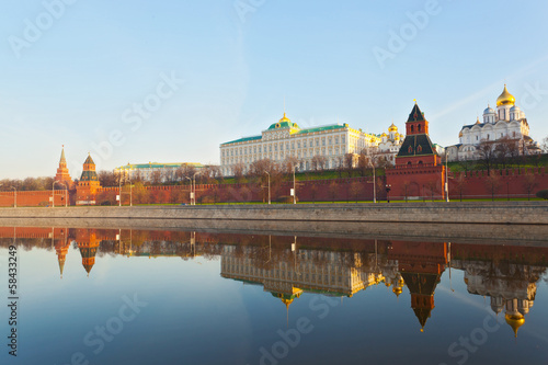 Moscow Kremlin, Grand Kremlin Palace and quay Moskva River