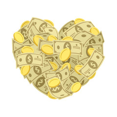 Money heart. Vector illustration.