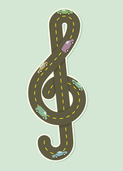 Paper road in the shape of treble clef. Vector illustration.
