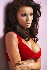 Alluring female model wearing red bra