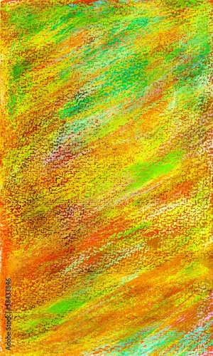 Background in green, red and yellow in pastel watercolors