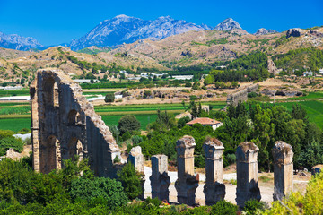 Aqueduct at Aspendos in Antalya, Turkey