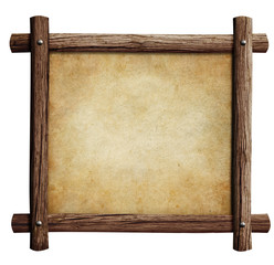 old wooden frame with paper or parchment background isolated on