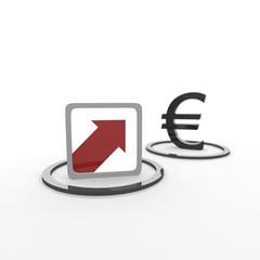 pfeil, euro, hoch, kurs, steigen,