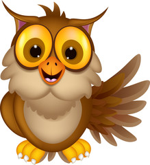 cute owl cartoon waving
