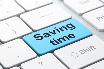 Time concept: Saving Time on computer keyboard background