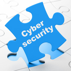 Privacy concept: Cyber Security on puzzle background