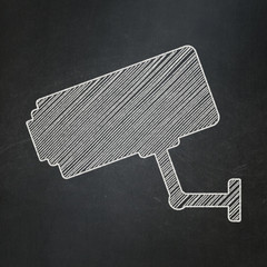 Privacy concept: Cctv Camera on chalkboard background