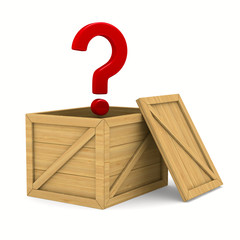 empty wooden box and question. Isolated 3D image