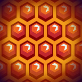 Bee honey cells. Background 1. Rhombuses. Flat design.