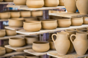 Shelves with ceramic dishware