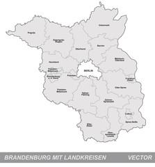 Inselkarte von Brandenburg mit Grenzen in Grau