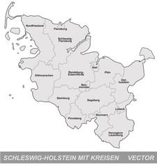 Schleswig-Holstein mit Grenzen in Grau