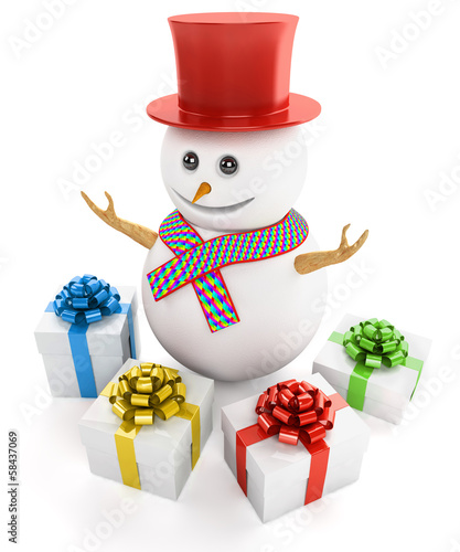 Snowman with gifts isolated