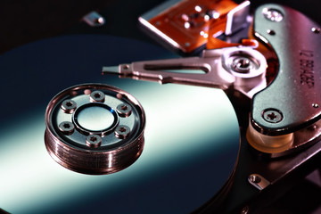 Hard disk close-up selective focus
