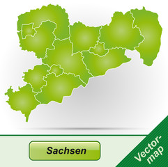 Sachsen mit Grenzen in Grün