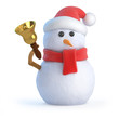 Santa snowman rings his Christmas bell
