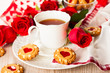 tea cup with cookies for Valentine's day