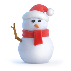 Santa snowman waves his twiggy arm