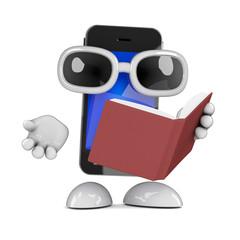 Smartphone reads a book