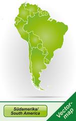 Grenzkarte von Suedamerika mit Grenzen in Grün