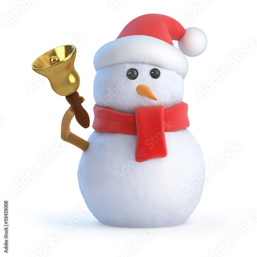 Santa snowman rings his Christmas bell