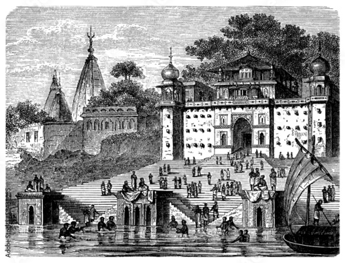 poster of Benares : Gaths - Gange River - View : 19th century