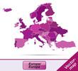 Europa mit Grenzen in Violett