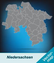 Niedersachsen mit Grenzen in leuchtend grau