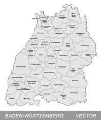 Inselkarte von Baden-Wuerttemberg mit Grenzen