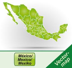 Mexiko mit Grenzen in Grün