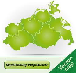 Mecklenburg-Vorpommern mit Grenzen in Grün