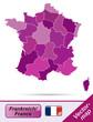 Frankreich mit Grenzen in Violett