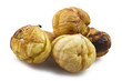 Peeled delicious roasted group of chestnuts close up background
